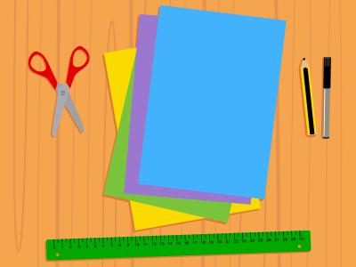 materiales para construir tu tangram: folios, regla, tijeras, lápiz y rotulador