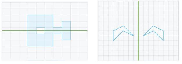 Ejercicios donde hay que analizar si dos figuras son simétricas.