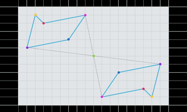Pentágonos simétricos respecto a un punto
