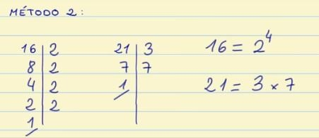 Calcular el mcd de 16 y 21
