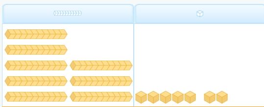 Restas: el número 87 representado con bloques