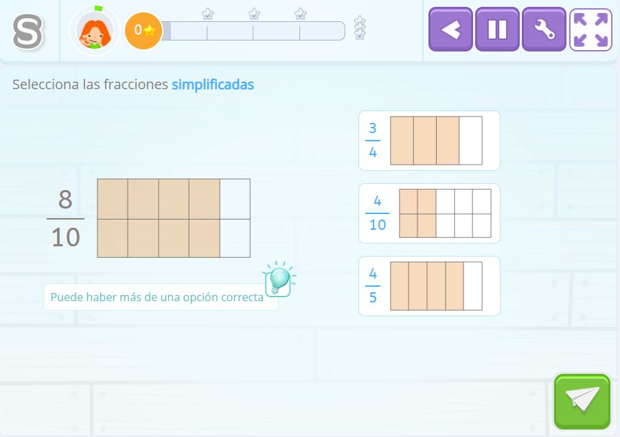 Actividad de simplificar fracciones