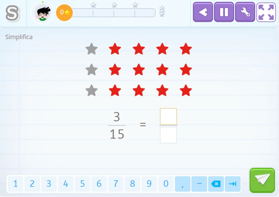 Actividad de simplificar fracciones de Smartick