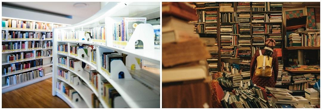 Una librería ordenada a la izquierda y una librería desordenada a la derecha