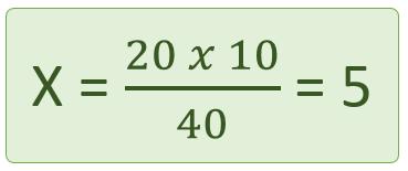 fórmula de la regla de tres inversa