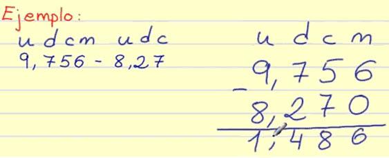 resta decimales